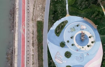Aerial view of newly-opened Dongdi Park in Tianjin