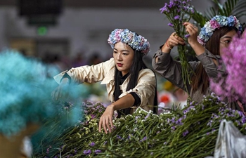 Business at Kunming Dounan Flower Market booming during China's National Day holiday