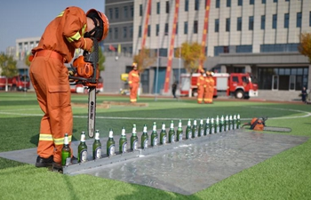 Firefighting drill held in Hengshui, China's Hebei