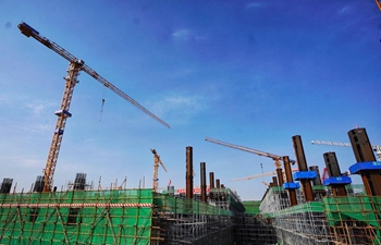 Xiongan Station of Beijing-Xiongan inter-city railway under construction