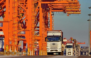 Unmanned container trucks enter into trail operation stage in Tangshan Port