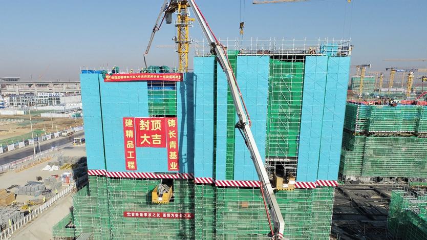 雄东片区A单元安置房项目88栋住宅楼主体结构全部封顶
