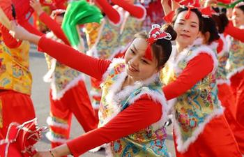 Dancers perform folk art to celebrate Chinese Lunar New Year