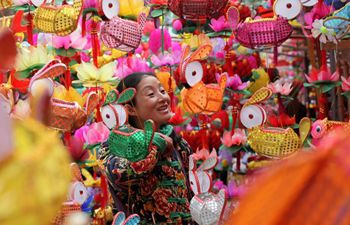 People buy colorful lanterns to greet upcoming Lantern Festival in E China