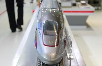 Models of China's Fuxing bullet train and other trains showcased in Thailand rail expo