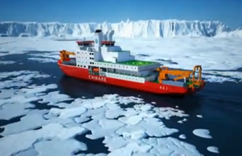 China's first home-built icebreaker launched into water